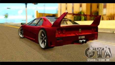 Turismo F40 para GTA San Andreas esquerda vista