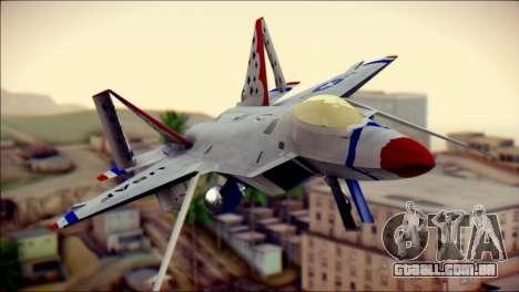 F-22 Raptor Thunderbirds para GTA San Andreas vista traseira