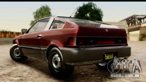 GTA 5 Dinka Blista Compact para GTA San Andreas esquerda vista