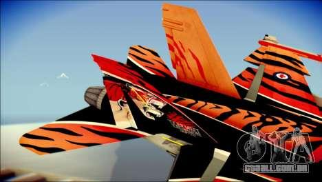 FA-18D Hornet RCAF Tigermeet para GTA San Andreas traseira esquerda vista