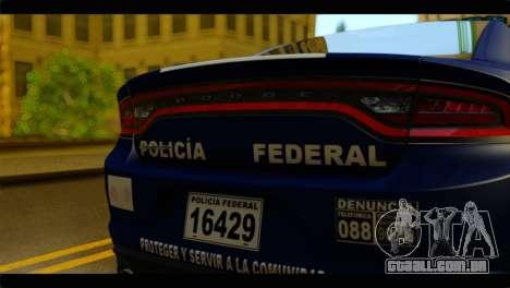 Dodge Charger 2015 Mexican Police para GTA San Andreas vista traseira