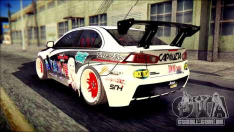 Mitsubishi Lancer Evolution X Juuzo Itasha para GTA San Andreas esquerda vista