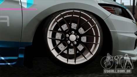 Honda CRZ Mugen Stance Miku Itasha para GTA San Andreas traseira esquerda vista