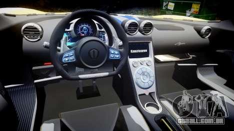 Koenigsegg Agera 2013 Police [EPM] v1.1 Low Qual para GTA 4 vista interior