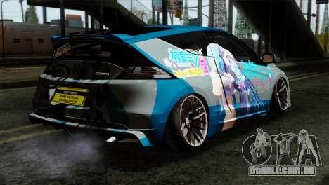 Honda CRZ Mugen Stance Miku Itasha para GTA San Andreas esquerda vista