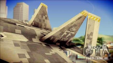 F-22 Raptor Digital Camo para GTA San Andreas traseira esquerda vista