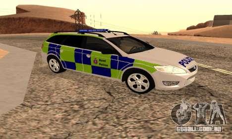 Ford Mondeo Kent Polícia para GTA San Andreas traseira esquerda vista