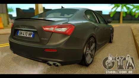 Maserati Ghibli S 2014 v1.0 EU Plate para GTA San Andreas esquerda vista