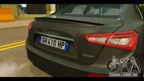 Maserati Ghibli S 2014 v1.0 EU Plate para GTA San Andreas vista traseira