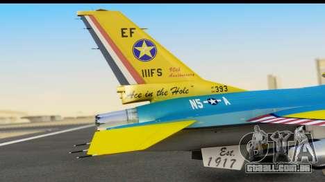F-16C USAF 111th FS 90th Anniversary para GTA San Andreas vista traseira