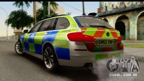 BMW 530d Kent Police RPU para GTA San Andreas esquerda vista