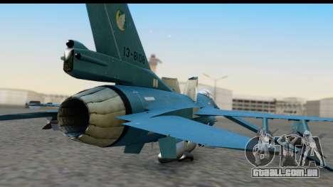 F-2A Viper Blue para GTA San Andreas vista traseira