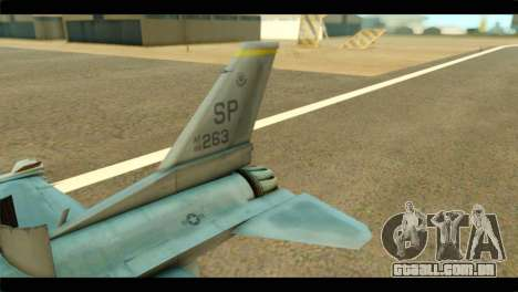 Lockheed Martin F-16C Fighting Falcon Warwolf para GTA San Andreas traseira esquerda vista
