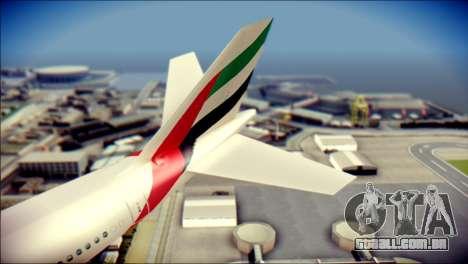 Airbus A340-300 Emirates para GTA San Andreas traseira esquerda vista