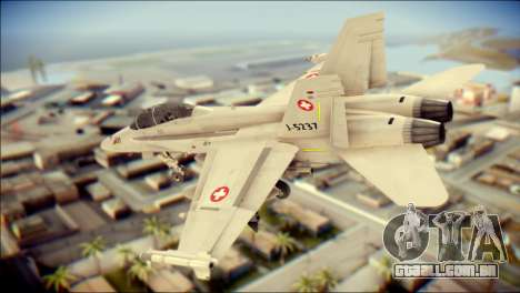 F-18D Swiss Air Force para GTA San Andreas esquerda vista