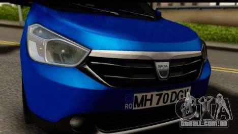 Dacia Lodgy 2014 para GTA San Andreas traseira esquerda vista