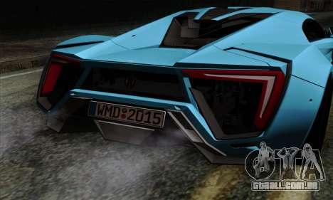 Lykan Hypersport 2014 EU Plate Livery Pack 1 para GTA San Andreas vista traseira
