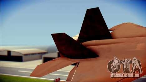 F-22 Raptor G1 Starscream para GTA San Andreas traseira esquerda vista