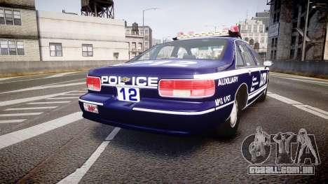 Chevrolet Caprice 1993 LCPD WH Auxiliary [ELS] para GTA 4 traseira esquerda vista
