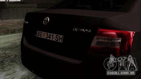 Skoda Octavia Police para GTA San Andreas vista traseira