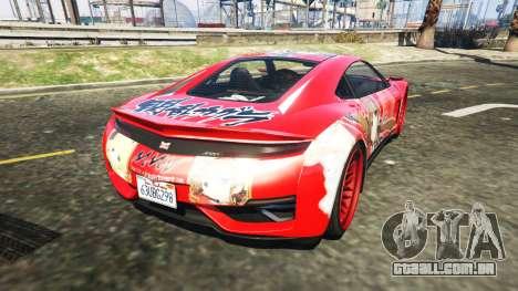 GTA 5 Dinka Jester (Racecar) Senran Kagura Ryobi Itasy traseira vista lateral esquerda