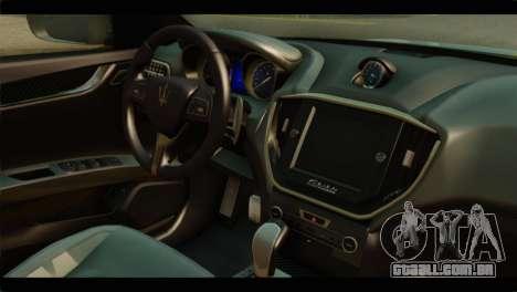 Maserati Ghibli S 2014 v1.0 SA Plate para GTA San Andreas traseira esquerda vista