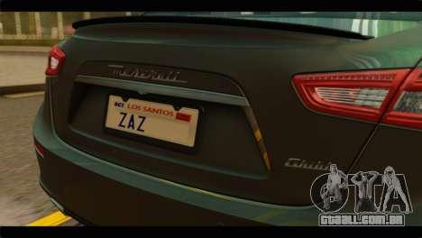 Maserati Ghibli S 2014 v1.0 SA Plate para GTA San Andreas vista direita