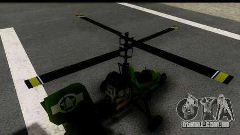 Gyrocopter para GTA San Andreas vista traseira
