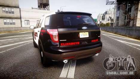 Ford Explorer 2011 Elizabeth Police [ELS] v2 para GTA 4 traseira esquerda vista