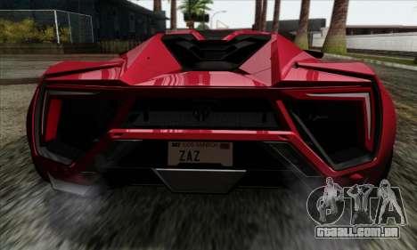 Lykan Hypersport 2014 Livery Pack 1 para GTA San Andreas vista traseira
