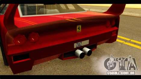 Turismo F40 para GTA San Andreas vista traseira