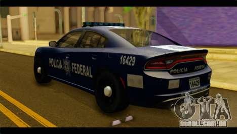 Dodge Charger 2015 Mexican Police para GTA San Andreas esquerda vista