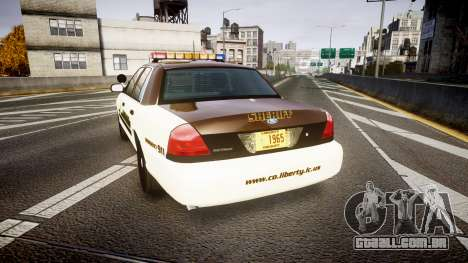 Ford Crown Victoria Liberty Sheriff [ELS] para GTA 4 traseira esquerda vista