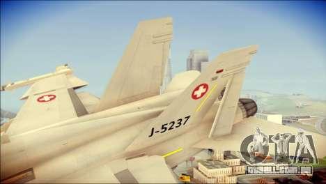 F-18D Swiss Air Force para GTA San Andreas traseira esquerda vista