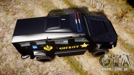 GTA V HVY Insurgent Pick-Up SWAT [ELS] para GTA 4 vista direita
