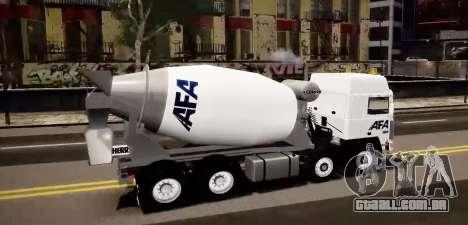 Volvo F10 cement truck para GTA 4 esquerda vista