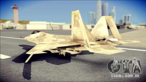 F-22 Raptor Desert Camo para GTA San Andreas esquerda vista