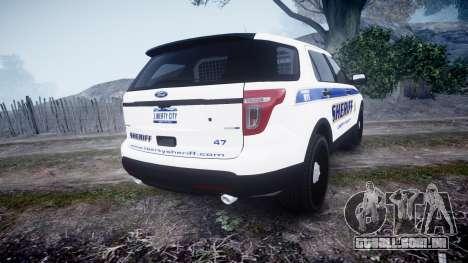 Ford Explorer Police Interceptor [ELS] slicktop para GTA 4 traseira esquerda vista