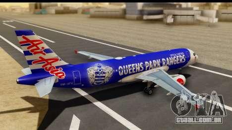 Airbus A320-200 AirAsia Queens Park Rangers para GTA San Andreas esquerda vista