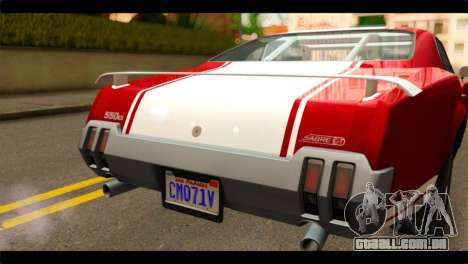 GTA 5 Declasse Sabre GT Turbo para GTA San Andreas vista traseira