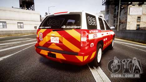 Chevrolet Tahoe 2013 Battalion Chief Unit [ELS] para GTA 4 traseira esquerda vista