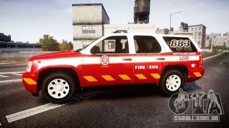 Chevrolet Tahoe 2013 Battalion Chief Unit [ELS] para GTA 4 esquerda vista