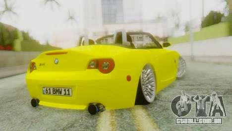 BMW Z4 Construção Ens para GTA San Andreas esquerda vista
