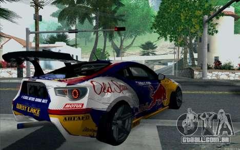 Toyota GT86 Red Bull para GTA San Andreas esquerda vista