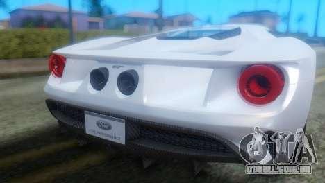 Ford GT 2017 para GTA San Andreas vista traseira