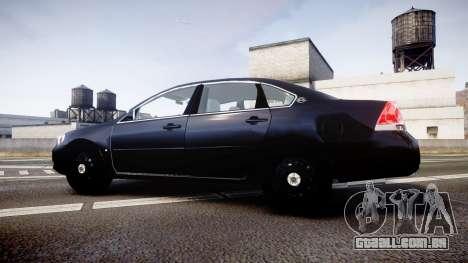 Chevrolet Impala Unmarked Police [ELS] ntw para GTA 4 esquerda vista