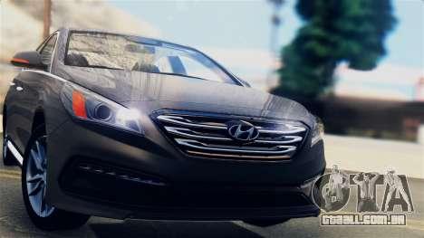 Hyundai Sonata 2015 para GTA San Andreas traseira esquerda vista