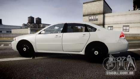 Chevrolet Impala Unmarked Police [ELS] tw para GTA 4 esquerda vista