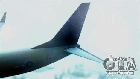 Boeing 737-800 Royal Air Force para GTA San Andreas traseira esquerda vista