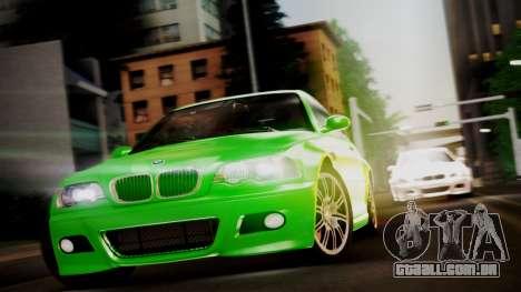 BMW M3 E46 v2 para GTA San Andreas traseira esquerda vista